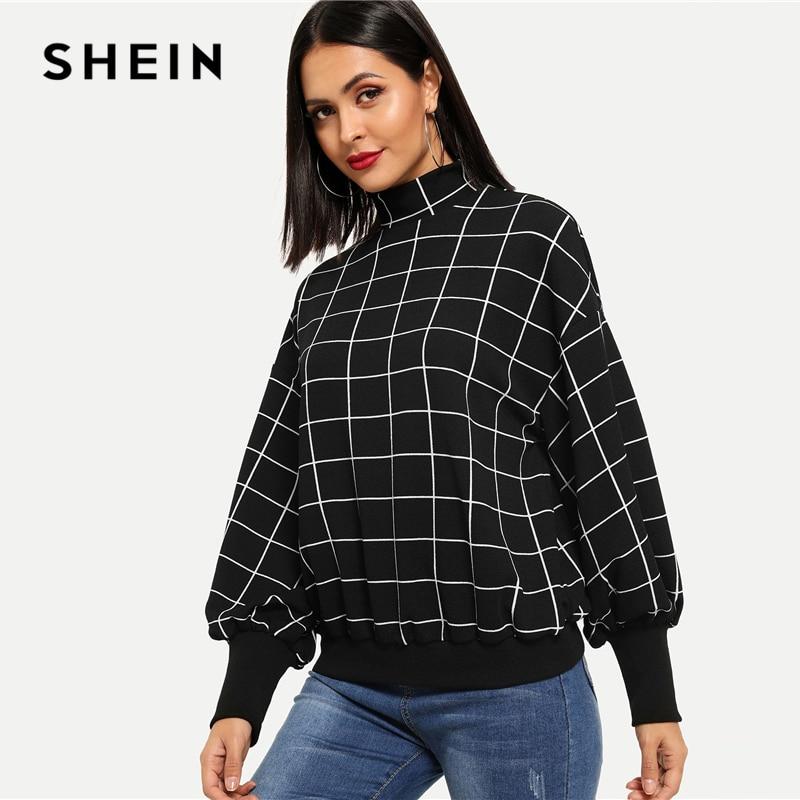 SHEIN Black Minimalist Mock-Neck Pullover Sweatshirt Women's Shein Collection