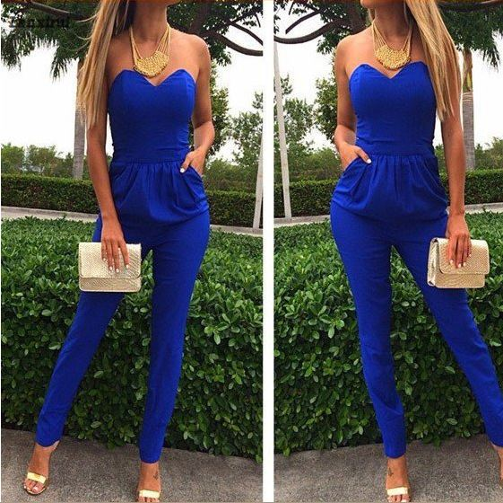 Rompers Womens Jumpsuit Sexy Blue Pockets Slim Pants Bodysuit Sleeveless Jumpsuits Xxl Macacao Feminino Macaquinhos ...