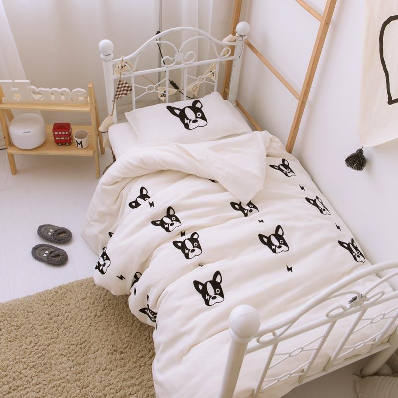 Double Gauze Cotton Bulldog Print Duvet Cover Set For Crib