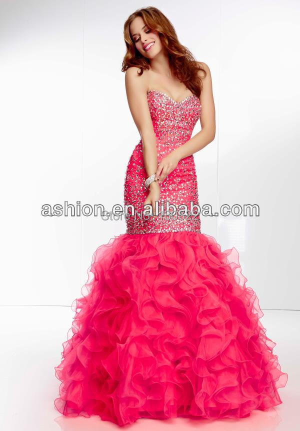 Free Shipping Ed 2602 Neon Pink Beaded Fitted Bodice Ruffled Bottom