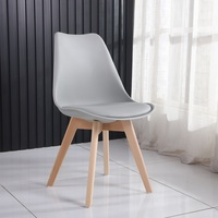 4 Pcs Modern Dining Chairs for Dining Rooms Living Home Furniture Beech Wood Chaises Soft Cushion Minimalist Design Gray