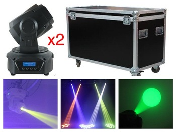 2 шт./лот + flightcase, Китай LED Moving Head Spot 75 Вт RGB Gobo Light с 3 призмами 60 Вт DMX stage disco wash light