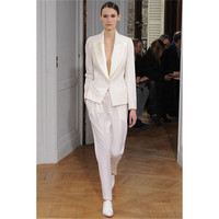 New White 2 Piece Set Women Business Suits Blazer Satin Lapel Female Office Uniform Trouser Suit