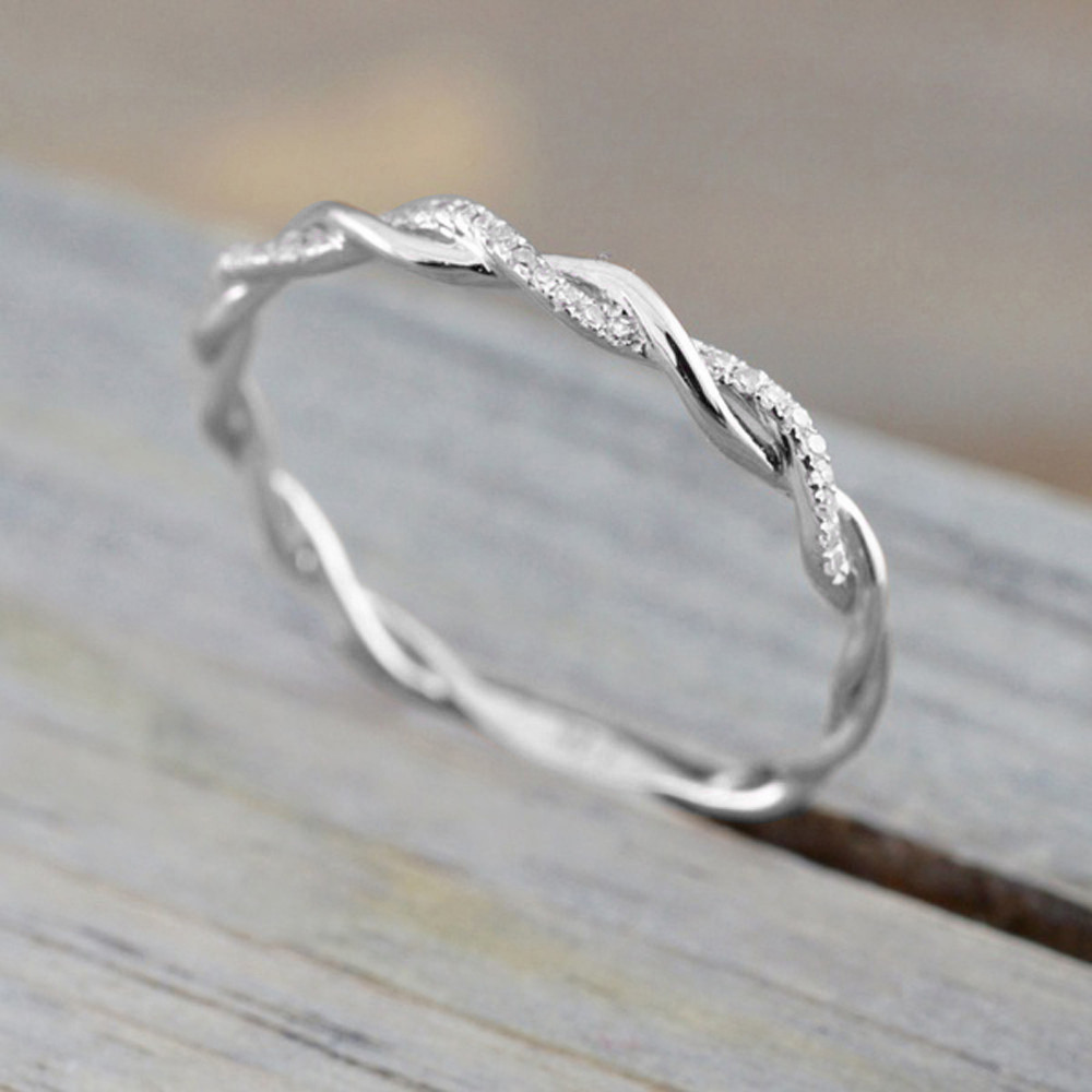 Diomedes 2018 женщин витой формы обручальное кольцо укладки соответствия группа юбилей кольцо Романтические кольца 18August7