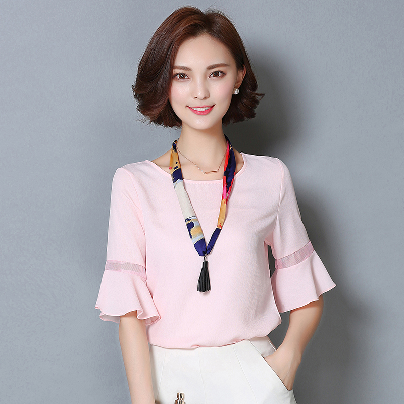 2016 Summer Women Plus Size Chiffon Blouse Flare Sleeve O neck Loose Formal Work Wear Shirt