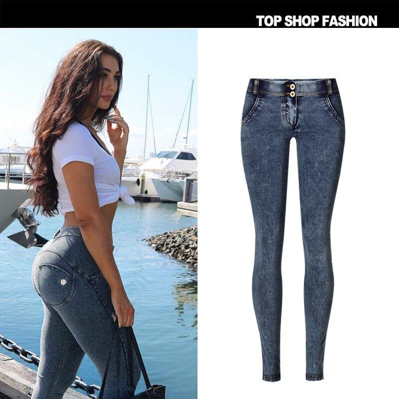 Nouveau pantalon de hanche pêche super populaire experts en fitness le même flocon de neige bleu super élastique confortable taille basse jeans