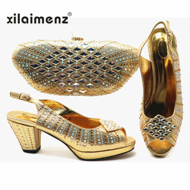Italian Shoes With Matching Bag For Party with Stones Wedding Shoes And Bag Set High Quality Women Pumps Gold Color PU Leather