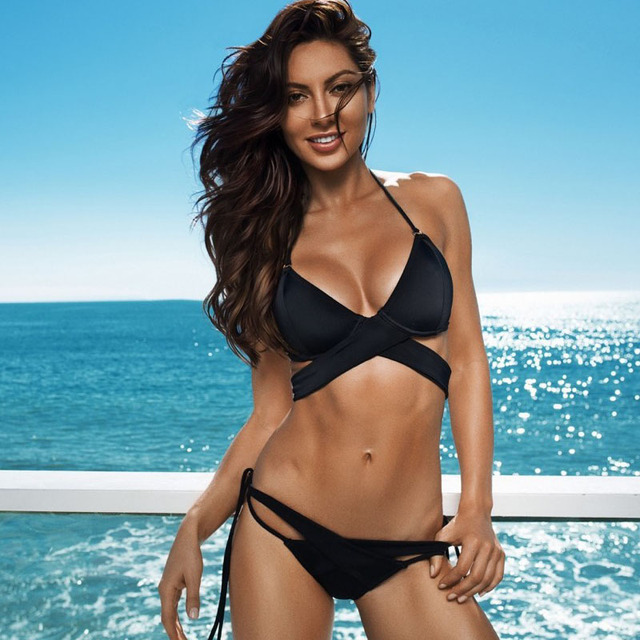 b40c5c6445 Czarny Stroje Kąpielowe Kobiety Sexy Bikini Push Up 2018 Kobiety  Dwuczęściowy Brazilian Bikini Set Lato Rocznika