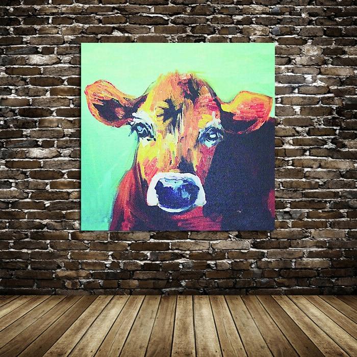 100% Dipinto A Mano Pittura A Olio Animale Piccolo Adorabile Mucca Astratta su Tela Bella decorazione della parete ArtWork Decorazione Della Casa
