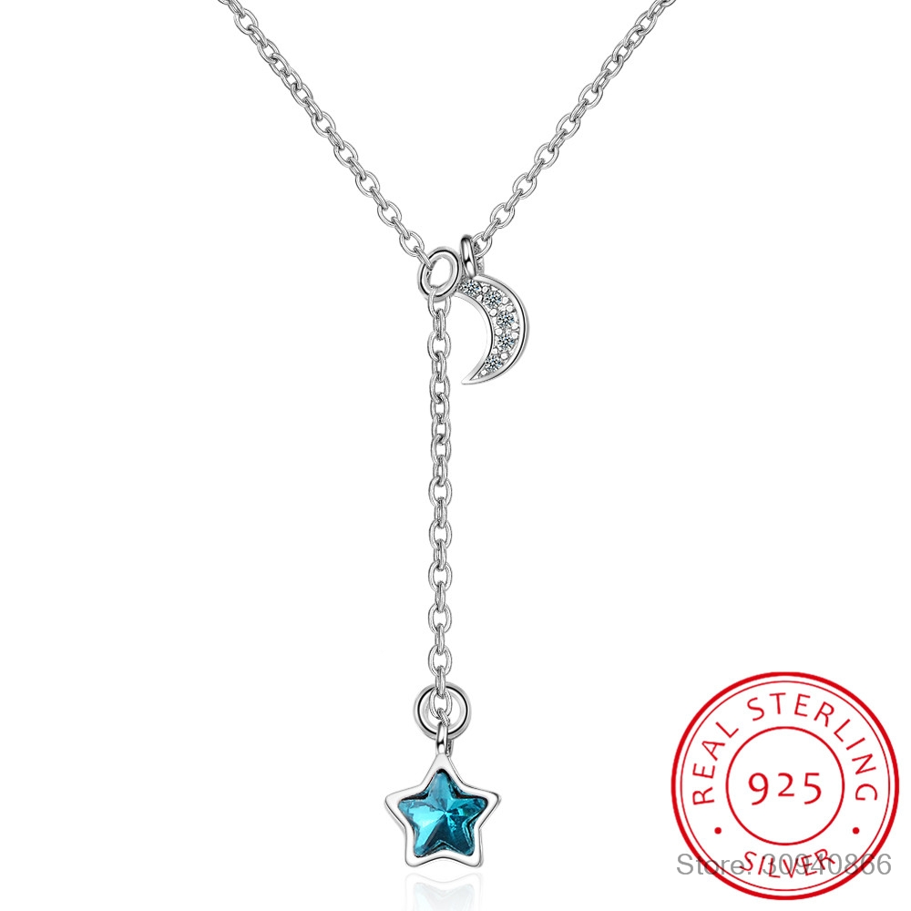 Simple Fashion Micro CZ Moon Star Tassel 925 Sterling Silver Necklace For Women collares Clavicle Necklace kolye S-N230