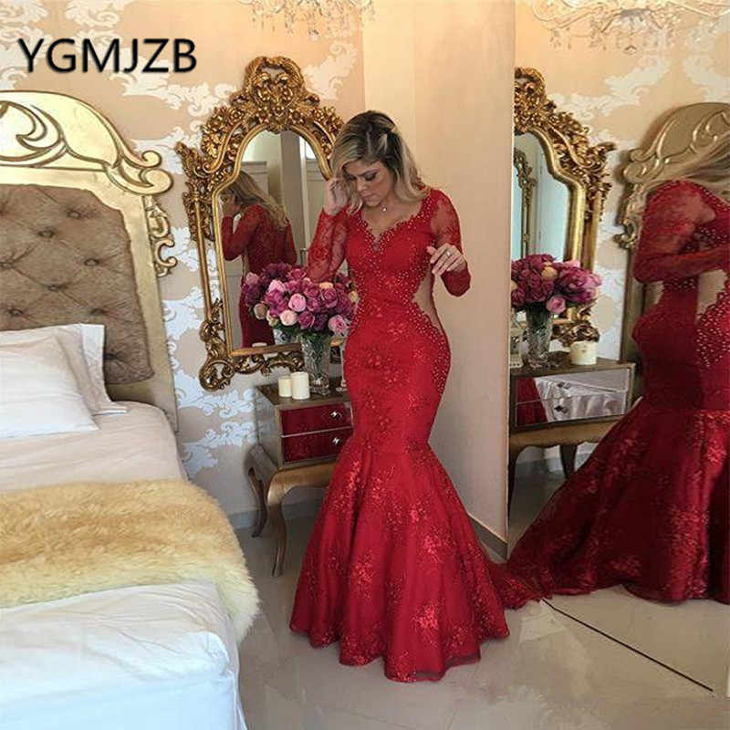 6b09728572a0 Red Lace Prom Dresses 2019 Mermaid Illusion Long Sleeves V Neck Pearls Evening  Gown Saudi Arabic