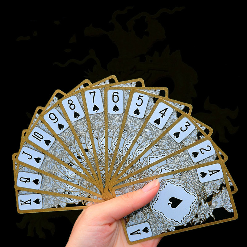 Waterproof Plastic Poker Cards Gold Gilded Crystal