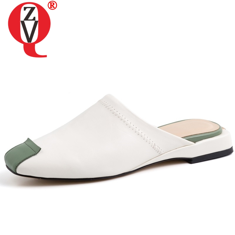 ZVQ fashion genuine cow leather woman slippers green brown mixed colors mules flat shoes outside slides