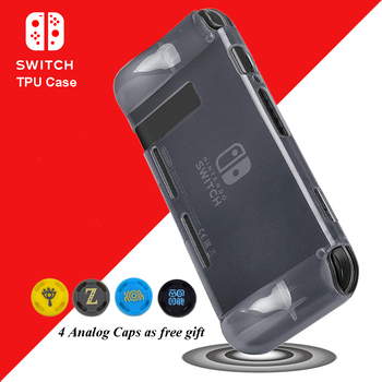 Nintend Switch NS Accessories Anti-Scratch Soft TPU Clear Case Nintendos Protective Skin Cover with 4 Caps for Nintendo Switch
