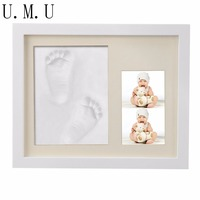 Cute DIY Wooden Baby Photo Frame Handprint And Footprint Frame Package Mold Kit Picture Frame Baby Gift Keepsakes R24