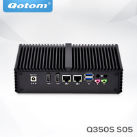 Qotom AES NI Мини ПК Core i5 Pfsense без вентилятора, микро ПК barebone системы 1080 P крошечные 2 LAN тонкий клиент X86 промышленный Мини компьютер