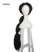 Ccutoo Black Long Braid Styled Slicked Back High Temperature Fiber Synthetic Hair Cosplay Costume Wigs Peluca