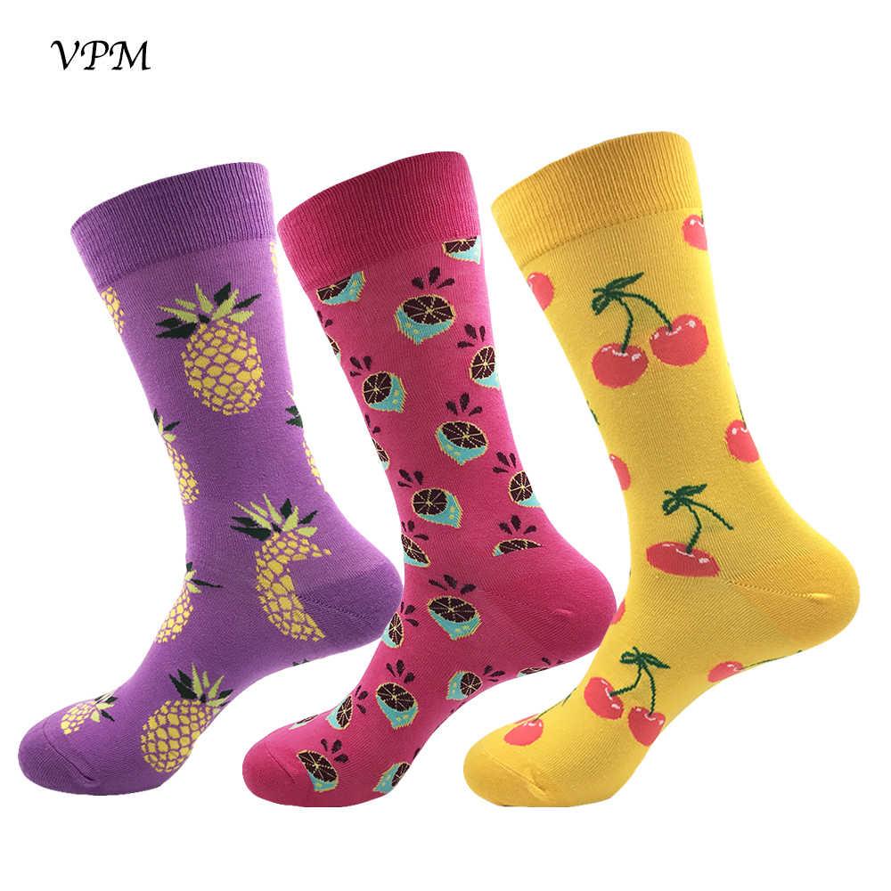 VPM GESCHENKDOOS EU 38-44 Mannen & Vrouwen Sokken Kleurrijke Leuke Grappige Voedsel Fruit Harajuku Minnaar Jurk Gelukkig sokken (3 paren/partij)