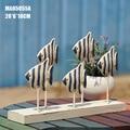 1set handmade wooden blue fish stocks model for decoration.