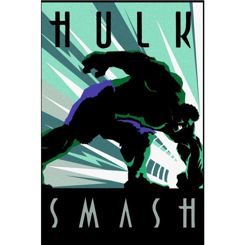 Marvel Comics the Hulk Smash Vintage Print Poster 27x40cm Cloth Poster
