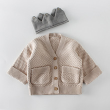 Everweekend Sweet Baby Kids Crochet Sweater Cardigans with Pockets Candy Blue Beige Color Spring Autumn Outwears