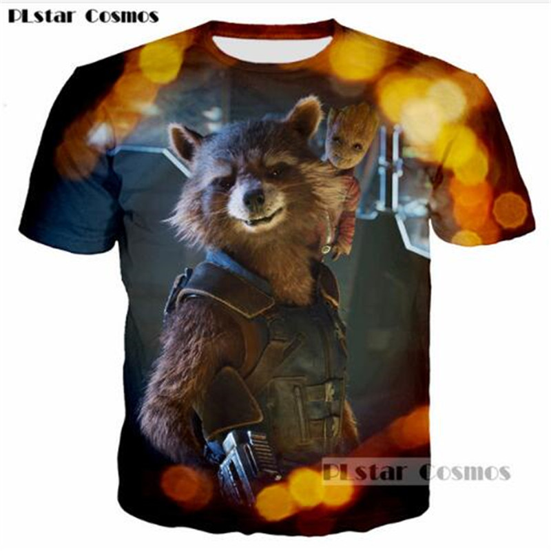 PLstar Cosmos New clothes Guardians of the Galaxy Character Rocket Racoon pattern t-shirt 3D printing fashion men women tshirt