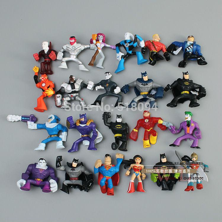 Бесплатная доставка DC Comics Супергерои Бэтмен Джокер Супермен Wonder Woman Мини ПВХ фигурку Игрушечные лошадки Куклы 22 шт./компл. HRFG049