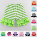 Bermudas Short Free Shipping Kids Girl Baby Striped Cotton Shorts Casual Elastic Waist Kurze Hosen Ruffle 1-6t