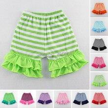 Bermudas Short Free Shipping Kids Girl Baby Striped Cotton Shorts Casual Elastic Waist Kurze Hosen Ruffle 1-6t