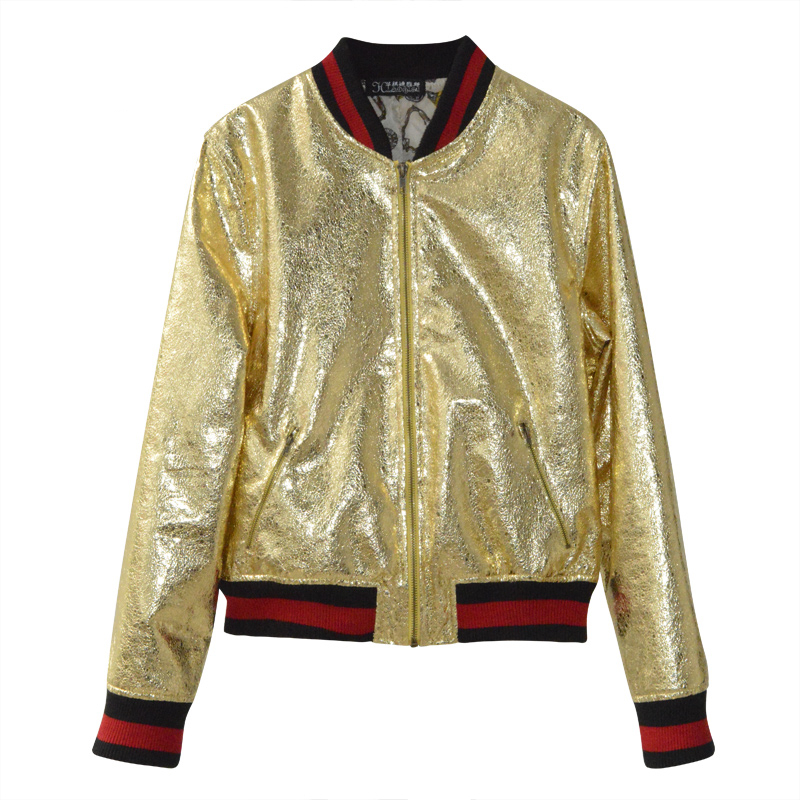 New Fashion ladies gold PU   leather   jacket Women's Spring Baseball uniform Leisure aircraft jacket