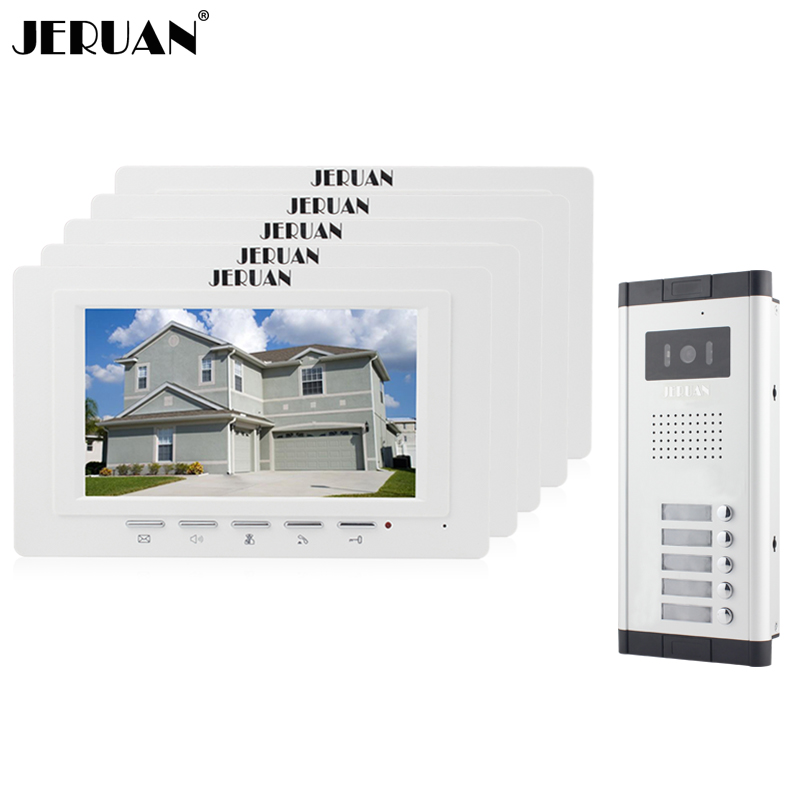 JERUAN Apartment Doorbell intercom 7 inch video intercom door phone system 5 Monitor 700TVL IR Night Vision Camera 5 Call Button wireless service call bell system popular in restaurant ce passed 433 92mhz full equipment watch pager 1 watch 7 call button