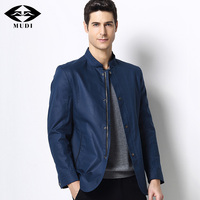 MUDI Brand Autumn Thin Jacket Newest Men Slim Fit Trench Coat With Stand Collar Men Casual Jacket Top Quality Overcoat Plus Side