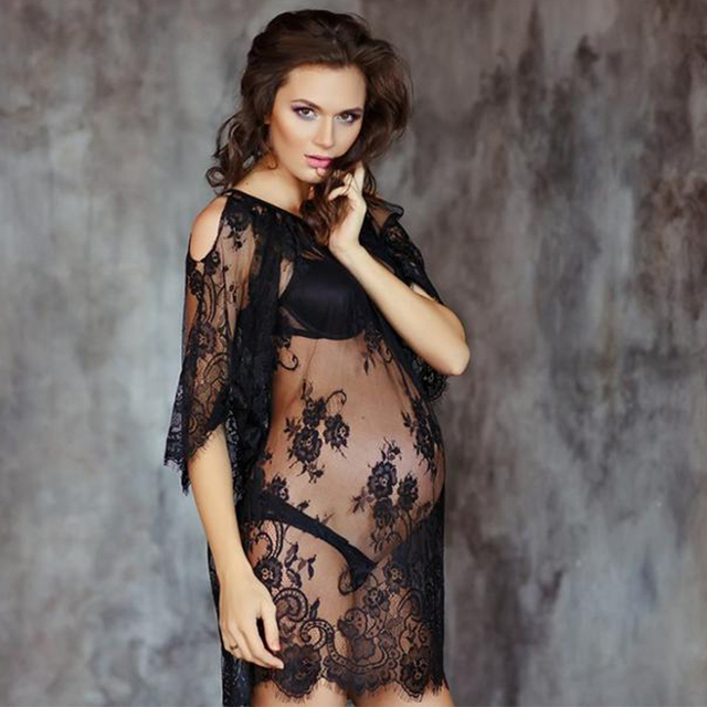 3255226c8eb 10pcs lot Maternity dress photography props black lace pregnancy dresses  off shoulder sexy gown costume for photo shoot S-XXL