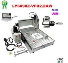 High speed 2200w cnc router with USB port 6090 4 axis cnc machine for metal