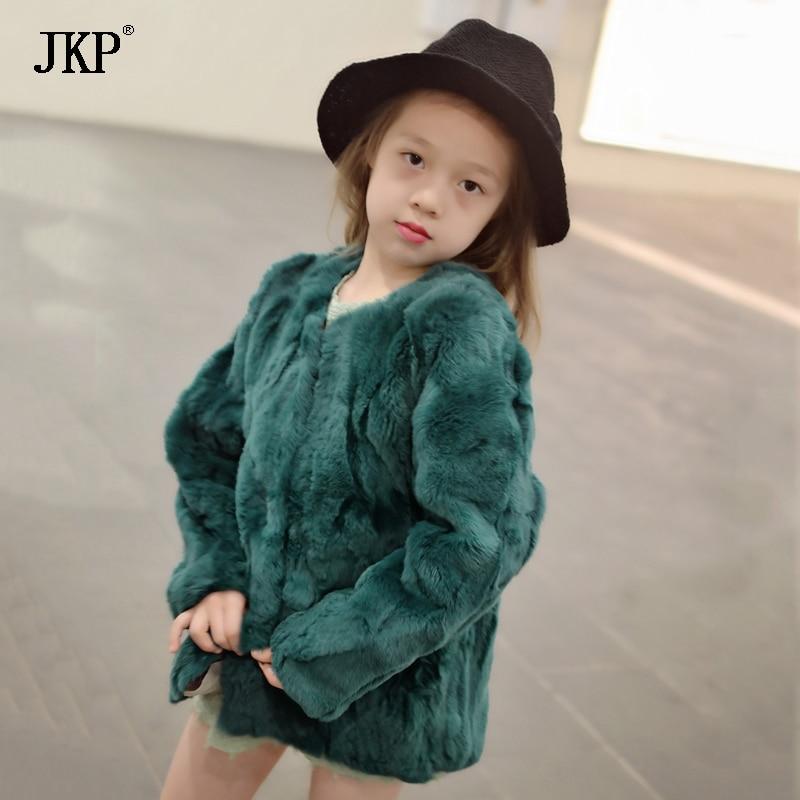 2017 Real 100% Real Rabbit Fur Coat Kids Girls Winter Children Rabbit jacket Baby Thick Plush Fur Coat