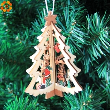 3Sets/Lot 3D Creative Christmas Wooden Pendants Ornaments For Home Christmas Party Xmas Tree Ornaments Kids Gifts Decorations