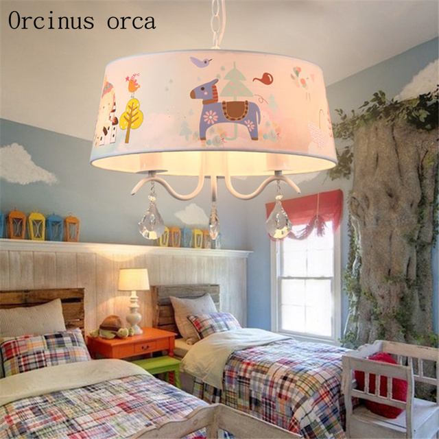 Korean Sweet Led Children S Room Crystal Chandelier Cartoon Lovely Trojan Teddy Boy Bedroom Free