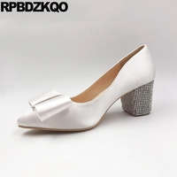 13 45 Pumps White Pointed Toe Ivory Bridal Shoes Thick Silk Satin Rhinestone Bow Plus Size