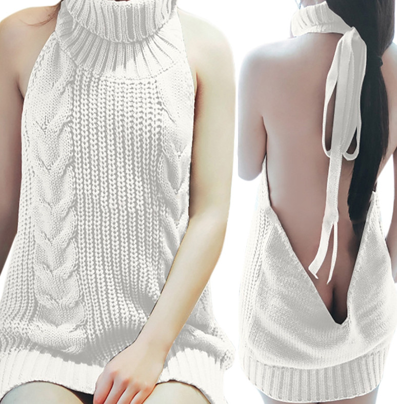 Long Virgin Killer Backless Sweater Turtleneck 5