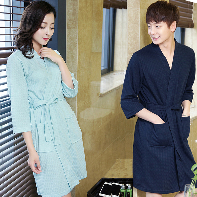 8857eb7797 Hot Sale Lovers Summer ElegantSuck Sweat Towel Bath Robe Plus Size Men Sexy Kimono  Bathrobe Mens Dressing Gown Male Waffle Robes
