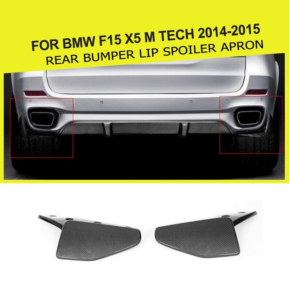 Carbon fiber Rear Bumper Splitters Lip Spoiler Aprons Cupwings Flaps Flags For BMW F15 X5 M tech 2014-2015