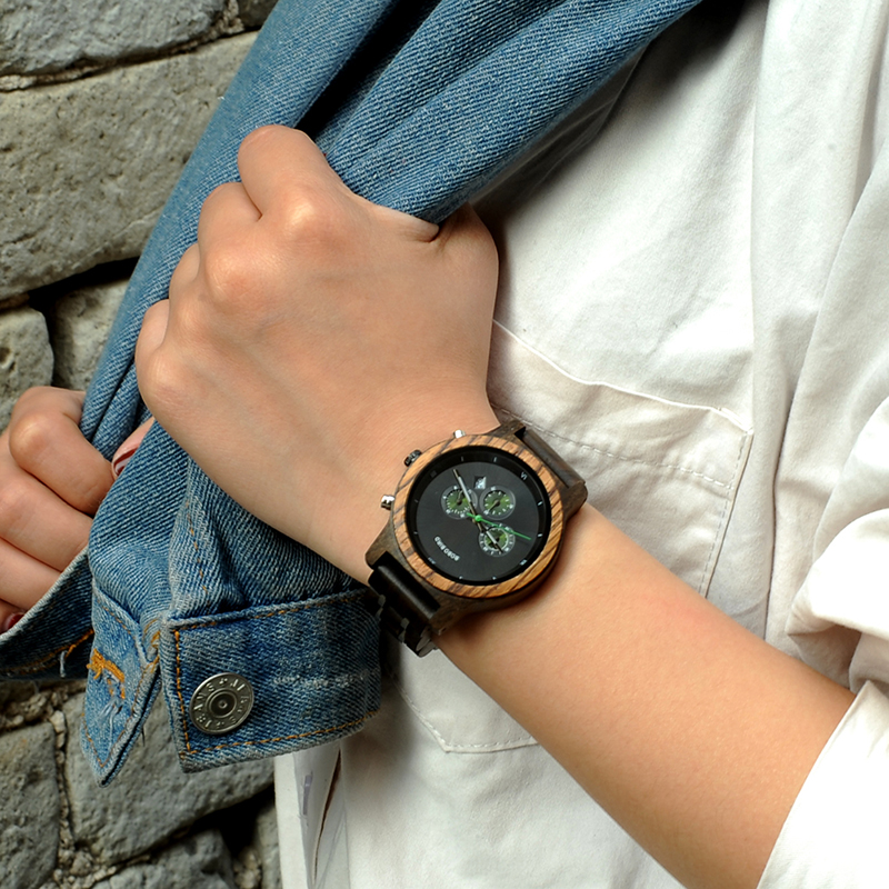 BOBO BIRD P18 Series Fashion Top Luxury Brand Stop Watch Wood Watches Men Business Watch Engrave Your Brand Quartz Ladies Watch