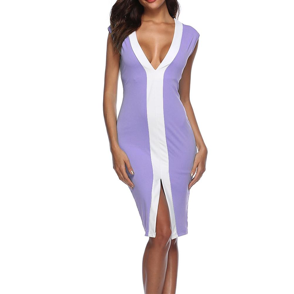 Fahion Women Sleeveless Deep V-Neck Sexy Evening Party Cocktail Short Mini Dress