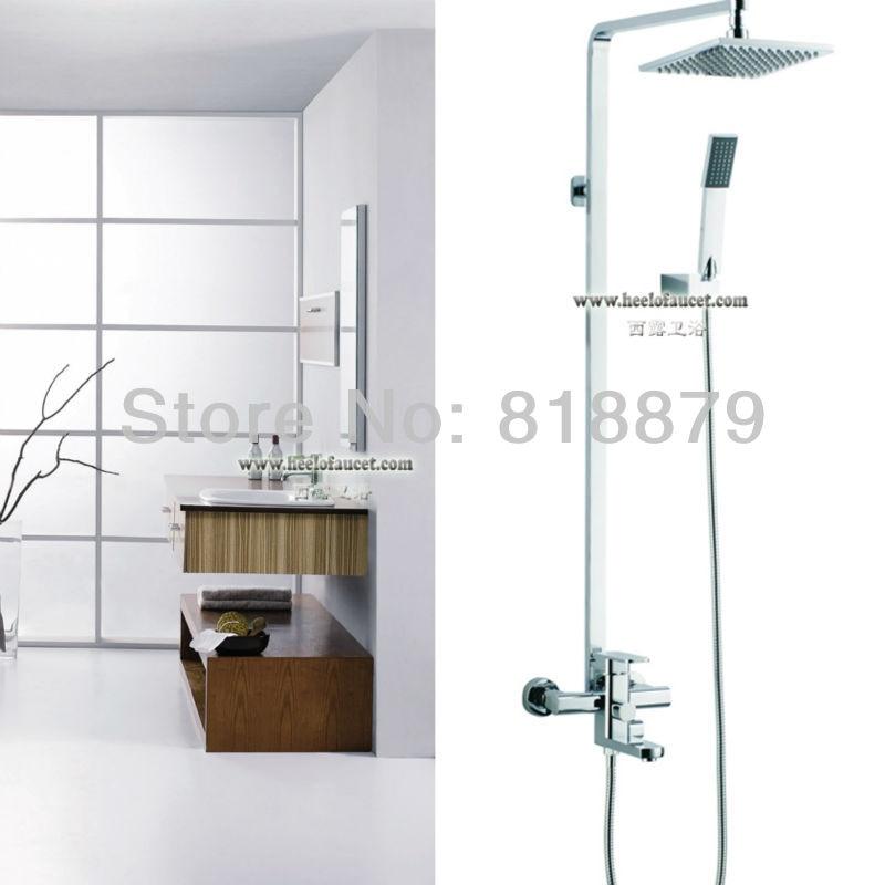 Площадь Настенный Латунь Душ столбца дождь смеситель для душа меди ванной смеситель для ванны ванна смесители хром 8 Дождь насадка для душа