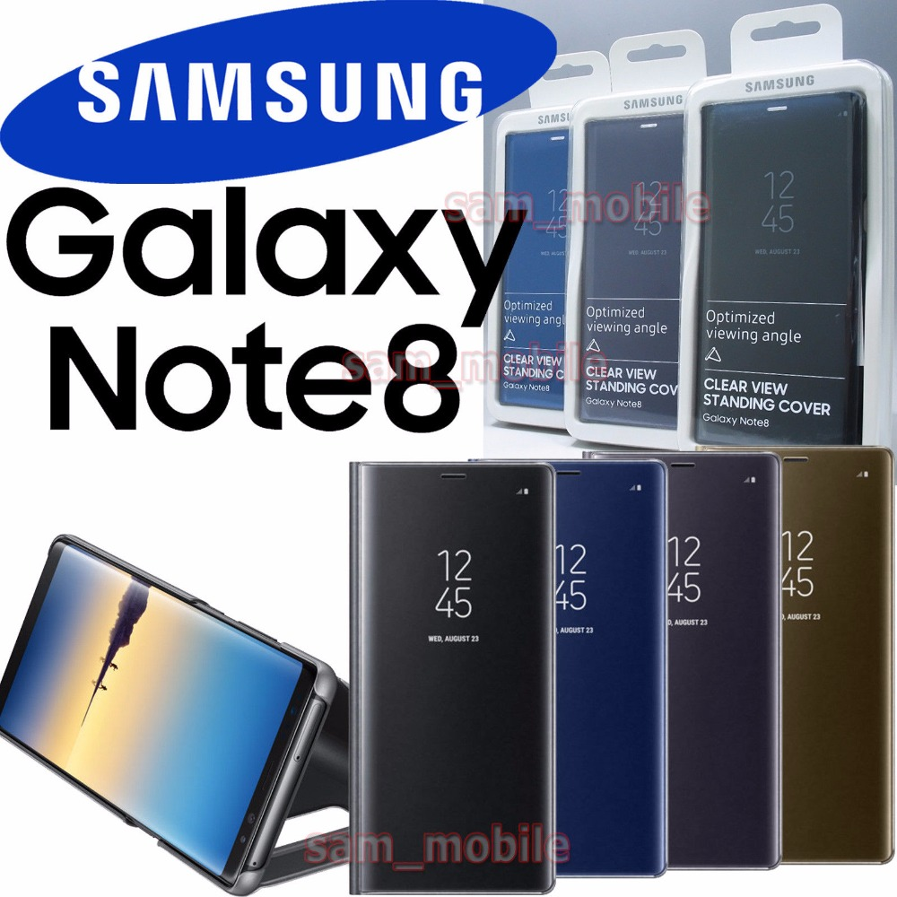100% D'origine Miroir Clear View Smart S-view Flip Cover Cas de Téléphone Pour Samsung Galaxy Note8 N9500 N950F