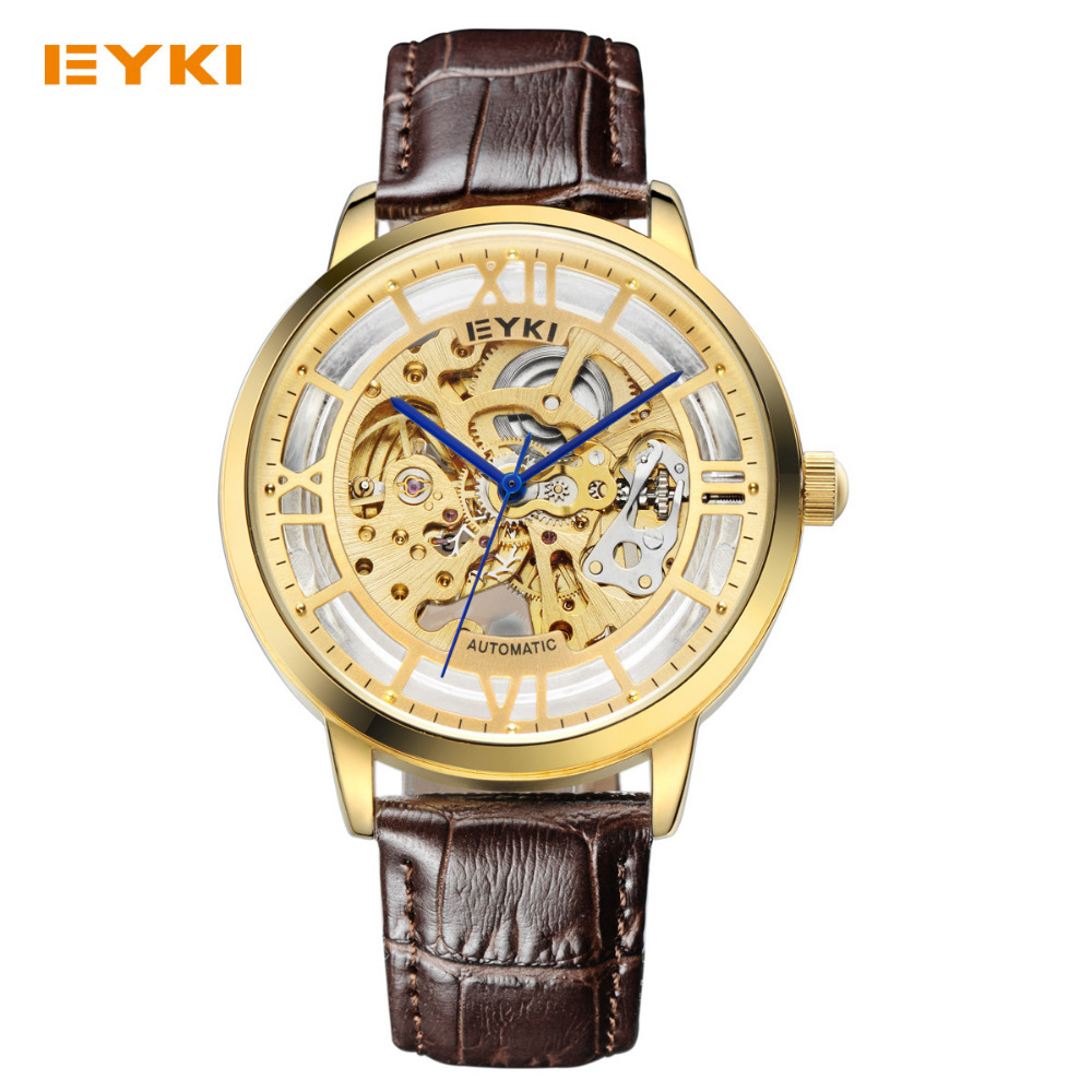 ФОТО EYKI 2017 New Men Mechanical Watch Fashion Top Brand Luxury Male Leather Strap Business Watches  Automatic Sskeleton Wirstwatch