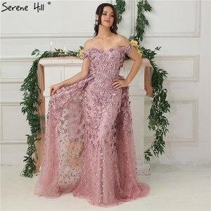 Image 3 - 핑크 오프 어깨 수제 꽃 이브닝 드레스 2020 민소매 크리스탈 섹시한 럭셔리 이브닝 가운 실제 사진 la6596