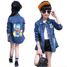 Girls outwear clothes Girls casual jeans jacket Kids cowboys Clothes Children s Fashion Long sleeved Cotton
