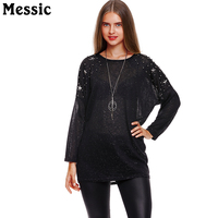 Messic Women Long Sleeve T Shirts French Velvet Hand Beaded Shirt 2018 Spring Lightweight Fashion Casual