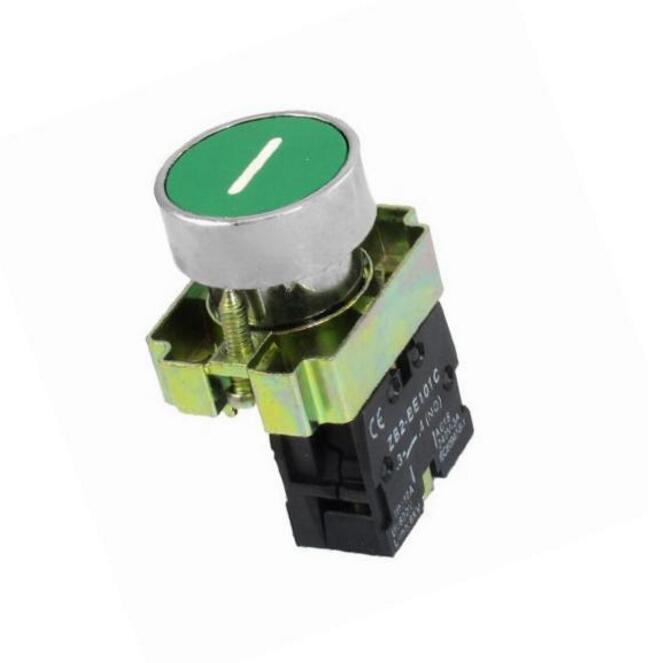 1 no n/o momentary push button switch, 600v 10a zb2-ba3311, 22 mm, green sign